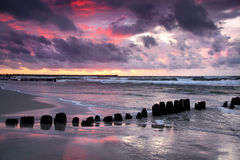 бурный заход солнца Стоковая Фотография RF