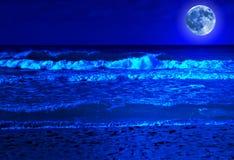 Бурный пляж на полночи с полнолунием Стоковое фото RF