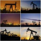 Буровая вышка, деррик-кран, wellhead, рафинадный завод во время захода солнца в месторождении нефти Стоковое Изображение RF
