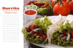 Буррито при изолированные мясо и овощи и соус Стоковое фото RF