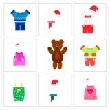 Бурый медведь и набор одежд бесплатная иллюстрация