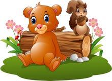 Бурый медведь младенца шаржа с белкой в лесе Стоковое Изображение RF