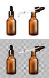 Бутылка Брауна стеклянная прозрачная Крышка золота с капельницей бесплатная иллюстрация