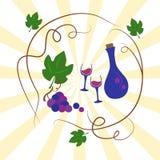 Бутылка виноградин, рюмки и вина, иллюстрация вектора иллюстрация штока