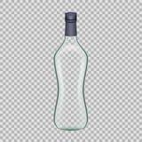 Бутылка водочки реалистического шаблона пустая красивая стеклянная с завинчивой пробкой Стоковое фото RF