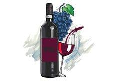 Бутылка и бокал вина и виноградины иллюстрация штока