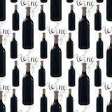 Бутылка красного вина с литерностью Стоковые Фото