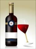 Бутылка красного вина с стеклом Стоковые Фотографии RF