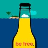 Бутылка лета в море Стоковое Изображение