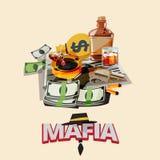 Бутылка ликера, сигареты на ashtray, газете, оружие с быком иллюстрация штока