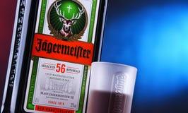 Бутылка настойки Jagermeister травяной стоковое изображение rf