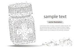 Бутылка пилюльки Медицинский контейнер капсул Равновеликая иллюстрация вектора иллюстрация штока