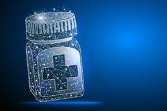 Бутылка пилюльки Медицинский контейнер капсул Равновеликая иллюстрация вектора бесплатная иллюстрация