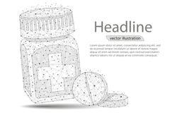 Бутылка пилюльки Медицинский контейнер капсул Vector абстрактные полигональные линия и пункт месива изображения Графики цифров иллюстрация вектора