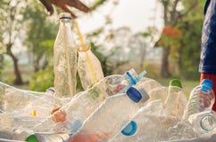 Бутылка рециркулируя на лужайке и выравниваться стоковые фото