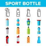 Бутылка спорта, линия набор вспомогательного вектора фитнеса тонкая значков иллюстрация штока