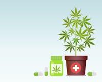 Бутылка с медицинской марихуаной и медицинскими пилюльками конопли Насмешка бутылки вверх иллюстрация штока