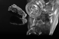 БУТЫЛКА С ФОТОГРАФИЕЙ ШТЕПСЕЛЬНОЙ ВИЛКИ ПРОБОЧКИ Стоковое фото RF