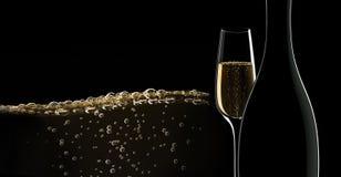Бутылка шампанского со стеклом иллюстрация вектора
