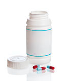 бутылка capsules разленный рецепт Стоковая Фотография
