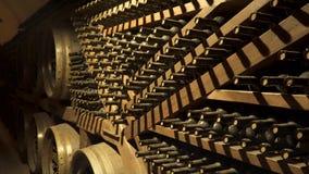 Бутылки вина в винном погребе видеоматериал