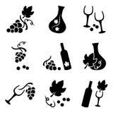 Бутылки виноградин, бокала и вина, набор вектора бесплатная иллюстрация