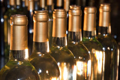 бутылки выровнялись вверх по белому вину Стоковые Изображения