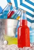 бутылки закрывают льдед вверх по взгляду Стоковая Фотография RF