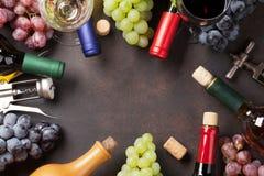 Бутылки и виноградины вина Стоковые Фотографии RF