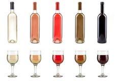 Бутылки и стекла вина Стоковые Изображения RF