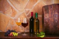 Бутылки и стекла красной и белого в винном погребе, старом бочонке вина Стоковые Изображения RF