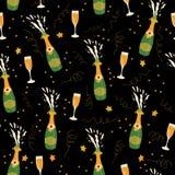 Бутылки и стекла Шампани vector безшовная предпосылка картины Вручите вычерченный взрыв шампанского и каннелюры шампанского на че иллюстрация вектора