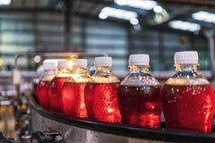 Бутылки красной соды в линии фабрики стоковые изображения