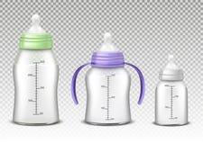 Бутылки младенца вектора на предпосылке Стоковые Фотографии RF