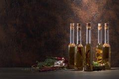 Бутылки оливкового масла с различными специями и травами Стоковая Фотография