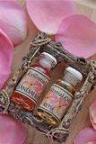 Бутылки розовой сути с лепестками Стоковые Изображения