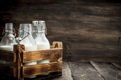 Бутылки с парным молоком в коробке Стоковые Изображения