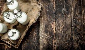 Бутылки с парным молоком в коробке Стоковая Фотография