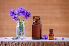 Бутылки эфирного масла и цветки лаванды для ароматерапии Стоковые Фотографии RF