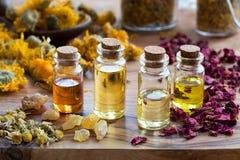 Бутылки эфирного масла с высушенными травами и ладаном Стоковое Фото