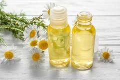 Бутылки эфирного масла с свежими стоцветами Стоковые Изображения RF