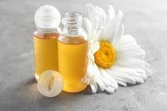 Бутылки эфирного масла с свежим стоцветом Стоковые Фотографии RF