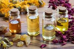 Бутылки эфирного масла с травами и ладаном Стоковое фото RF