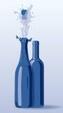 бутылки 2 предпосылки голубые Стоковая Фотография RF