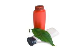 бутылочный зеленый выходит shampooand Стоковые Изображения RF