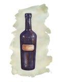 Бутылка акварели с покрашенным пятном стоковые изображения rf