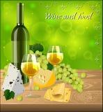 Бутылка белого вина с стеклами, связки винограда Стоковое Изображение