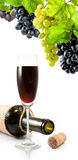 Бутылка, бокал вина и виноградины Стоковое Изображение RF