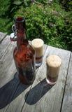 Бутылка Брайна стеклянная и 2 высокорослых стекла полных пенистого темного пива на деревенском деревянном столе в лете садовничаю Стоковое фото RF