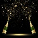 Бутылка брызга Confetti Шампани золотого Стоковое Фото